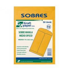 SOBRE MANILA MEDIO OFICIO DE 50 UNIDADES GRAFIPAPEL