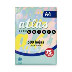 PAPEL BOND A-4 75 GR 500 H VERDE ATLAS